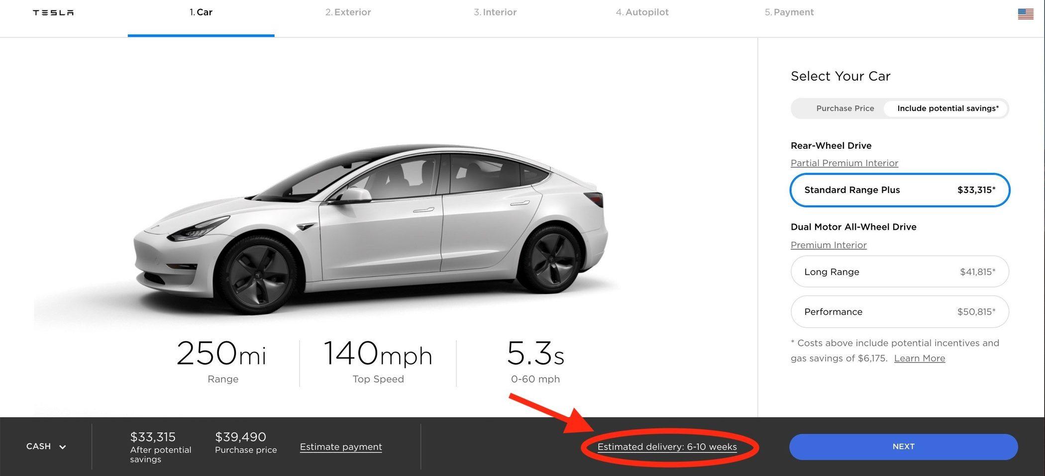市场需求激增 特斯拉延长在美交付Model 3时间