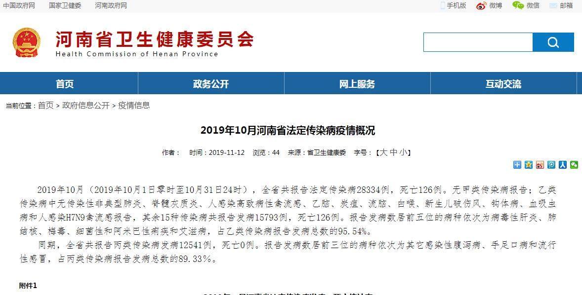 河南发布10月疫情概况 15种传染病共报告发病15793例
