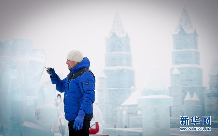 """哈尔滨国际冰雕比赛:""""芳容""""初现 引期待"""