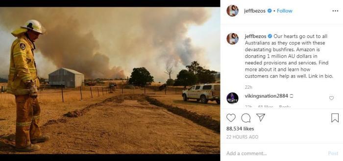 世界首富贝佐斯将为澳大利亚林火捐赠100万澳元 用于救援工作