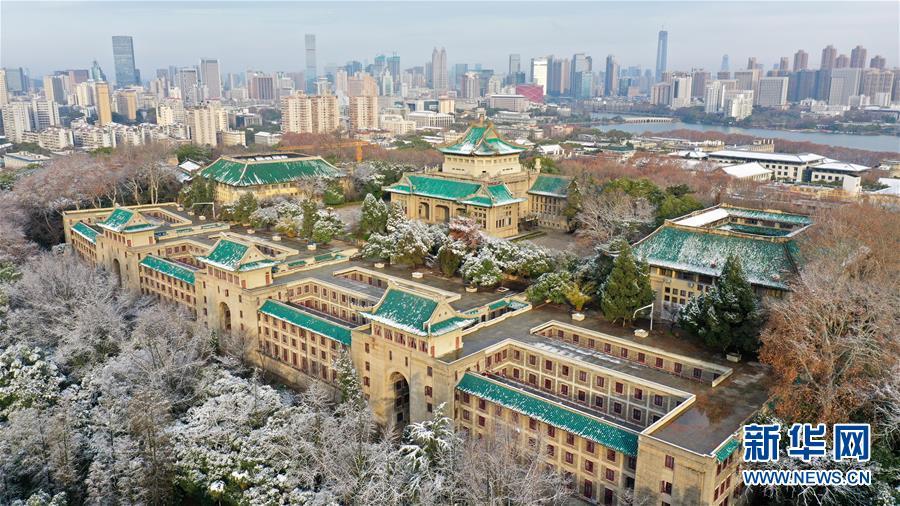 雪后初霁 阳光洒在武汉大学的建筑群上 景色如画