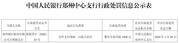 郑州银行(002936)天明路支行违法领罚单 因对外支付残缺污损人民币