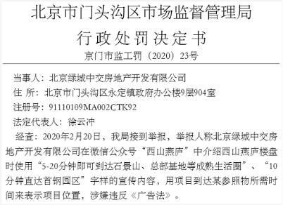 楼盘广告违法遭举报 绿城中交(3900.HK)收监管处罚书