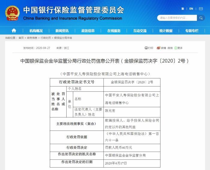 平安人寿上海电话销售中心欺骗投保人,被罚40万 给予投保人保险合同约定以外的其他利益