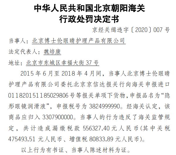 """北京博士伦违反海关监管规定漏缴税款55.63万 营收、净利润""""双下滑"""""""