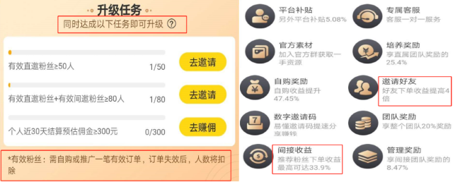 升级蜜源运营商的条件(左图)和权益(右图)(上述蜜源运营商分享记者)