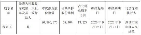 名家汇(300506.SZ):程宗玉所持8657万股被司法冻结