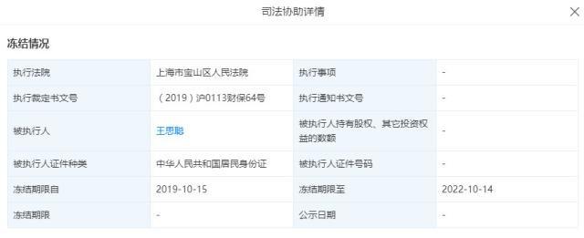 王思聪普思股权遭冻结  冻结至2022年10月14日