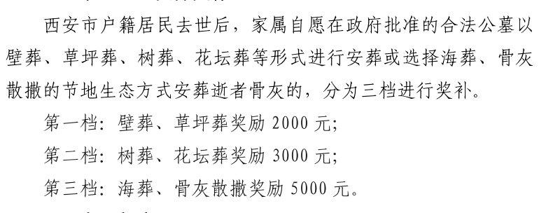 西安节地生态安葬奖补对象及奖补标准
