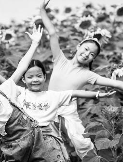 贺兰山下千余亩向日葵扮靓美丽乡村 吸引诸多游客